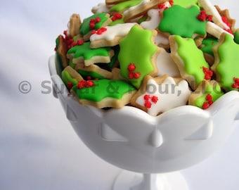 MINI SUGAR COOKIES, Holly Leaf Itty Bitty Sugar Cookies, 1/2 Pound