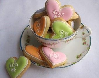 Valentines Day CONVERSATION HEART Sugar Cookies, 1 Dozen