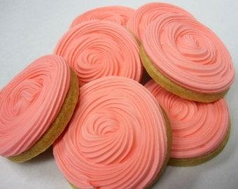 ROSETTE FLOWER COOKIES, 12 Decorated Sugar Cookies