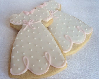 BAPTISM DRESS COOKIES 12 Decorated Sugar Cookie Party Favors