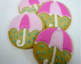 RAINY DAY UMBRELLA Sugar Cookie Party Favors, 1 Dozen