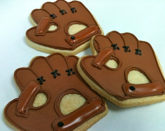 BASEBALL GLOVE COOKIES, 12 Decorated Sugar Cookie Party Favors