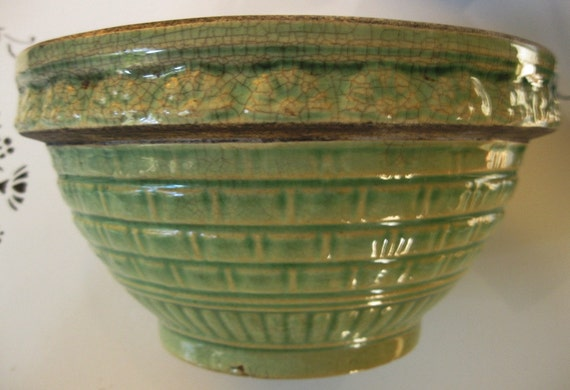 Large Gorgeous Vintage Green Yellow Ware/Ironstone Bowl, Basket Weave and Shell or Flower Design