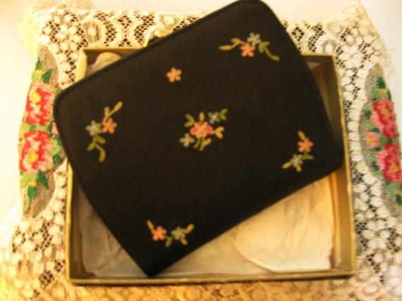 Vintage Bond Street Wallet, Unused, In Original Box. Black With Embroidery/Petit Point Flowers