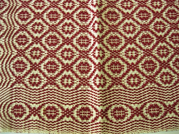 Antique/Vintage Woven Red and White Sampler, Coverlet, Geometric Design By Priscilla Sargent