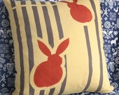 Japanese Yukata Bunny Print Pillow -- 12 x 12 --  SUPER CUTE