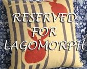 Japanese Yukata Bunny Print Pillow -- RESERVED FOR LAGOMORPH