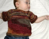 Sale OOAK Hand Knitted Fall Colors Sweater Top Wool Blend Infant Toddler Newborn NB  0-3 Months