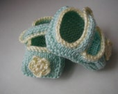 Pale Green,Yellow Mary Jane Baby Slippers Size 0-6 months