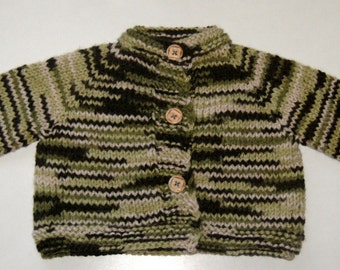 Hand Knitted Camouflage Sweater,Wool Acrylic 0-3 Months