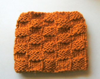 Knit Neckwarmer Cowl  Orange Wool Blend Free Shipping
