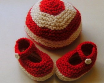 Hand Knitted Red and White Beanie and Booties Set NB Newborn Infant Toddler  Baby Shower Gift Christmas Striped Candy Cane Santa