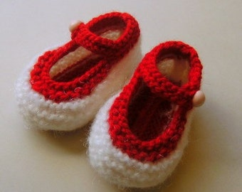 Hand Knitted Red and White Baby Booties
