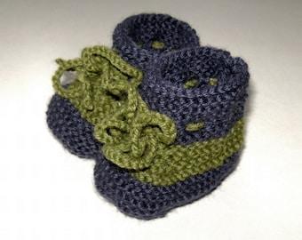 Hand Knitted Purple and Green Baby Booties Custom Handmade Slippers Socks Infant Toddler Shower Gift
