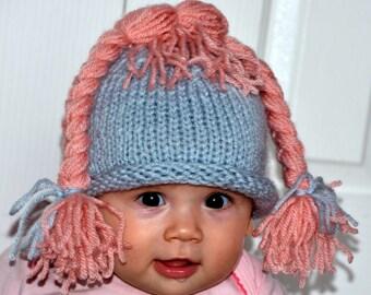 Newborn Wig Little Princess Hat Beanie OOAK Wig Hat Hair Cute Photography Prop All Sizes Custom Blue Pink Shower Gift Halloween