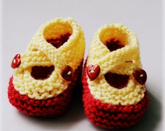 Knitted Baby Booties Infant Toddler Newborn Baby Slippers NB Cross Strap Valentines Heart Buttons Acrylic Mary Janes