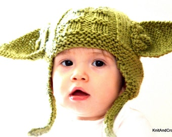 Earflap Hat, Star Wars Fans Hat All Sizes Yoda Hat  Ear Flap Hat Photo Prop Halloween Custom Green Handmade Knitted Baby Earflap Hat