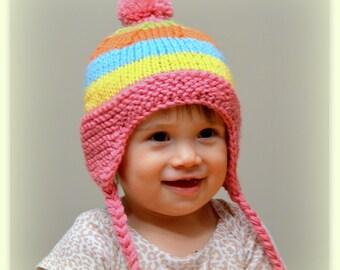 Candy Colors Earflap Baby Hat - Lollipop/Candy Colors Rainbow Colors