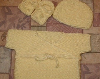 Hand Knitted Baby Shower set,kimono(wrap-jacket),hat and booties,banana,yellow