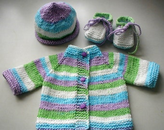 SALE Knitted  Baby Jacket  Cotton Sweater Hat and Booties Set Striped Multicolored Purple Umbrella Buttons 0-3 Months NB Shower Gift