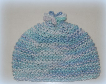 Hand Knitted Multicolored Baby Flower Hat Size 0-3 Months Infant Newborn Custom Handmade Blue