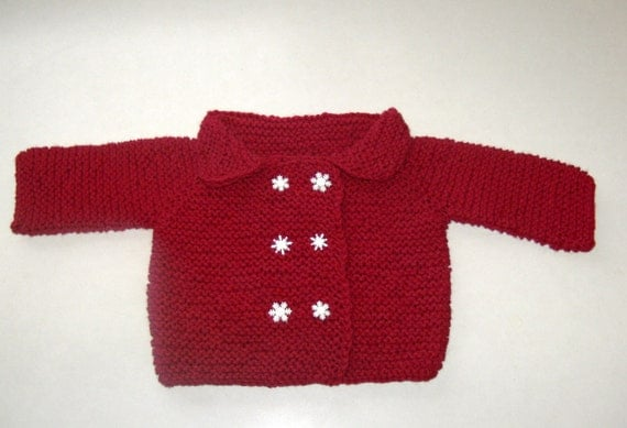 Hand Knitted Baby Sweater Cardigan Jacket Snow Snowflake Red Infant Toddler Custom Handmade Long Sleeved Winter Christmas