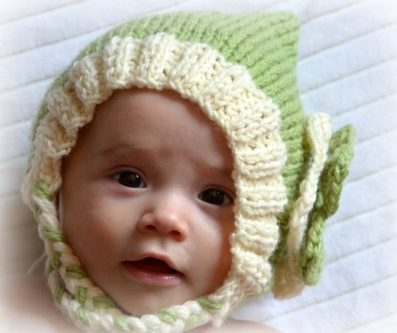 Newborn Hat Baby Hat Wool Cute Bonnet with Flower Photography Prop Green Almond Infant Knitted Custom Crochet Gnome Shower Gift