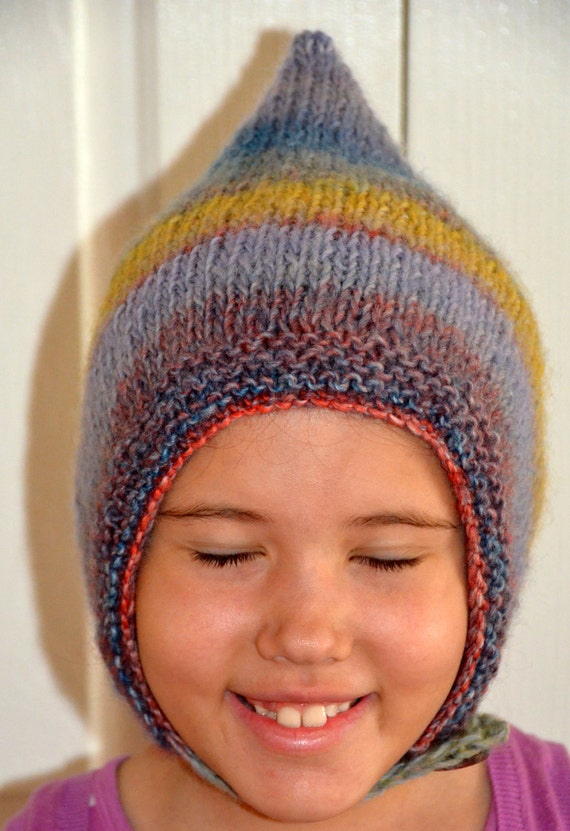Cute Hand Knit Hat Pixie Chunky Ear Flap Adult Gnome Elf Winter Fall Striped Grey Blue Accessories Custom Hand Knitted FREE SHIPPING