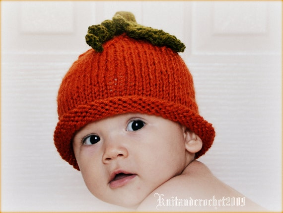 Newborn Beanie Hat - Baby Beanie Hat - Halloween Beanie Hat - Newborn Hat, All Sizes Fall Orange Custom