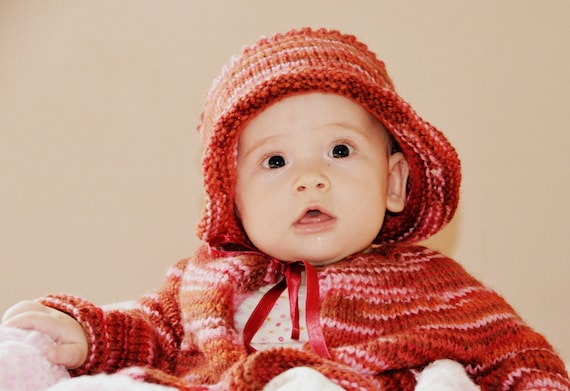 Cute Baby Sweater Set Hand Knitted Multicolored Wool Handmade Striped Red Pink Jacket Ribbon Toddler Child Custom Beanie Cap Cardigan