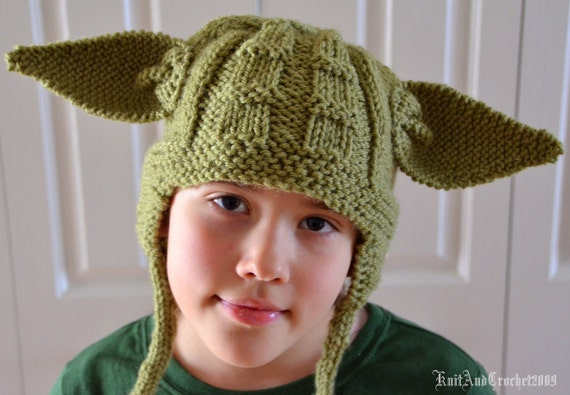 Adult Earflap Yoda Cap Yoda Beanie Halloween Custom Green Handmade Knitted Earflap Hat
