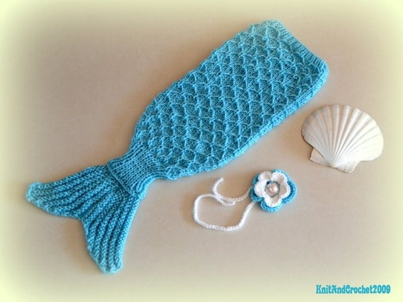 Knitting Pattern Baby Mermaid : Mermaid Cocoon and Headband Knitted Baby by KnitAndCrochet2009