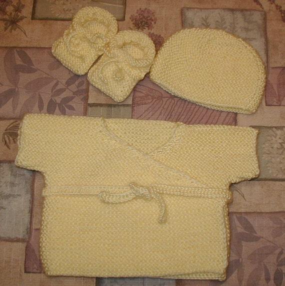 Hand Knitted Baby Shower set,kimono(wrap-jacket),hat and booties,banana,yellow