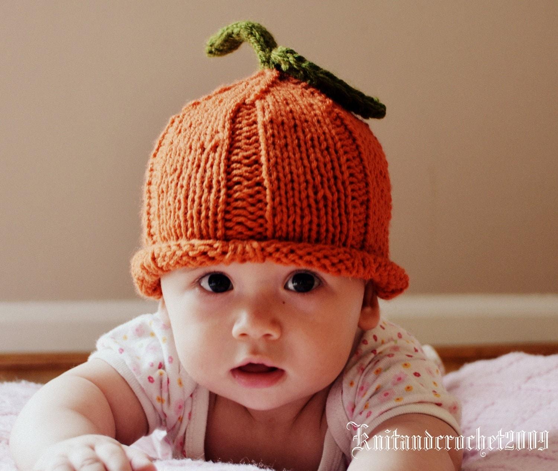 Pumpkin Hat Pixie Baby Infant Newborn Knit Handmade Cute