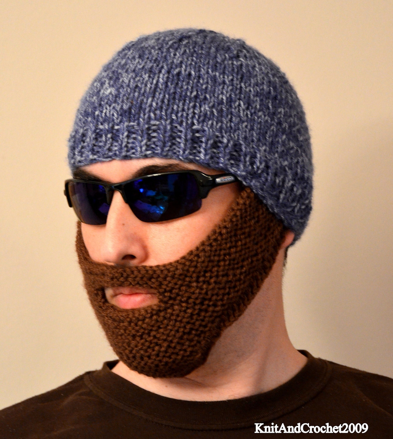 Knitting Patterns By Needle Size : Beard Hat Knitted Beard Beanie Adult Size All Colors