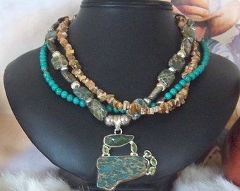 JUST  REDUCED from 85.00    Stunning Three  Strand Southwest Picture Jasper and  Aqua Terra Jasper and Turquoise Necklace