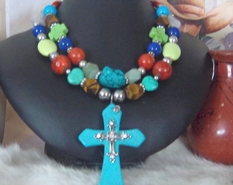 Striking Showstopping Two Strand Turquoise Necklace