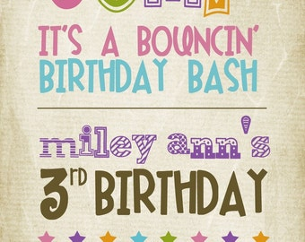 Tall JUMP birthday invitation
