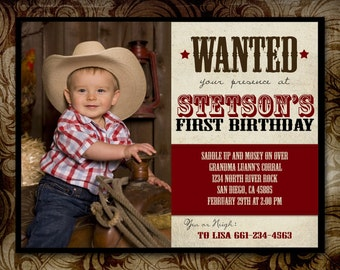 Wanted Western Birthday Invitation