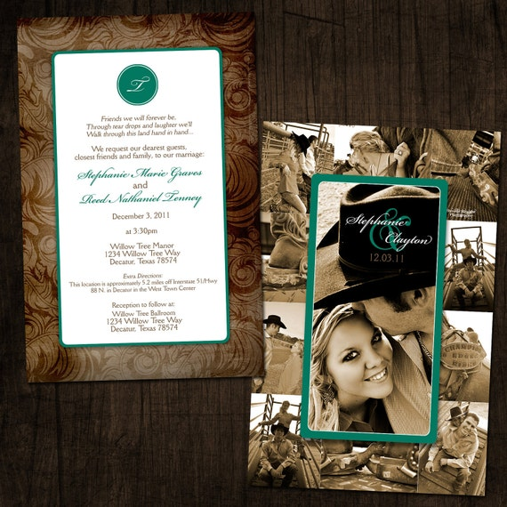 Items Similar To Western Chic Collage Wedding Invitation