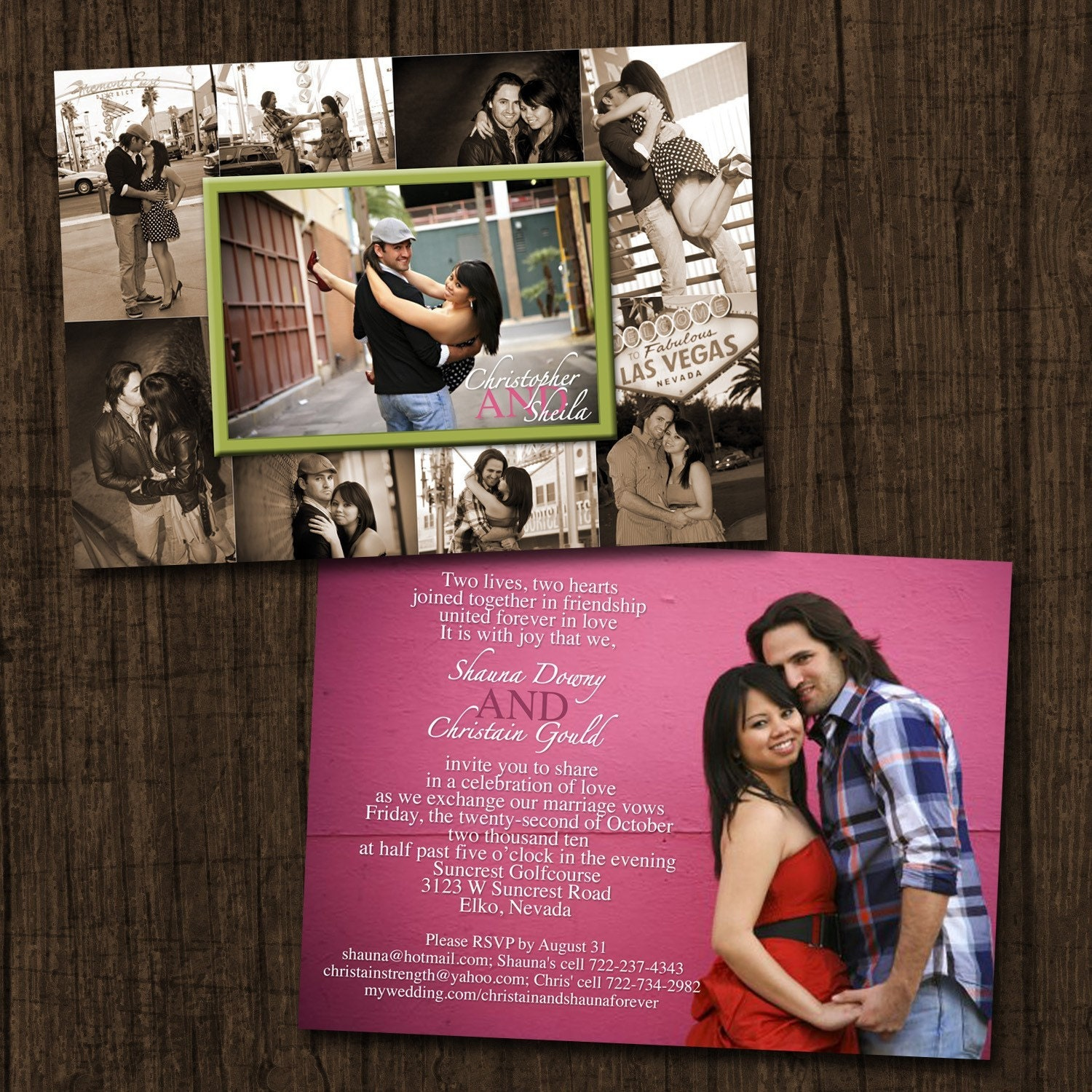 Collage Frame Double Sided Wedding Invitation/Save By