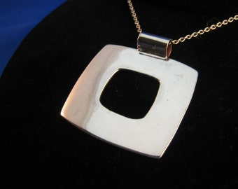 Large  Square .925 Silver hand made one of a kind pendant