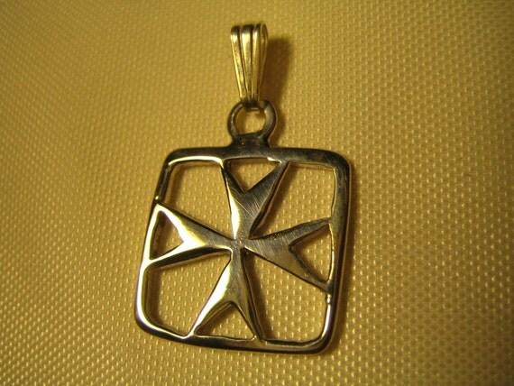 Maltese Cross Silver Square Frame Pendant