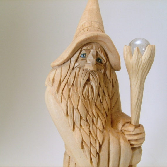 Hand carved wizard sorcerer original carving by
