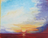 "Giclee reproduction on 8 1/2"" x 11"" fine art paper - Fanta Sea (colorful cloudy seascape)"