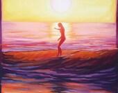 "Giclee reproduction on 8 1/2""x11"" fine art paper by Daina Scarola - Summer Haze, (sunset surf art, nose rider, endless summer) free shipping"