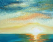 "Original Oil Painting - Setting Emeralds II, 30""x24"" (surf art, sunset)"