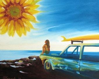 "GICLEE Fine Art Reproduction by Daina Scarola on 8-1/2""x11"" fine art paper - Golden (Sunflower sun, surfer, surf mobile)"
