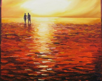 "Giclee reproduction on 8 1/2"" x 11"" fine art paper - High Tide (summer love, couple, sunset beach seascape)"