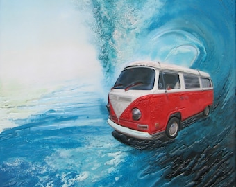 GICLEE Fine Art Reproduction on 8.5x11 PAPER - Red Surfmobile